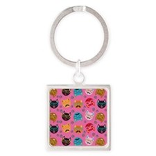 Cute Cat Mustache and Lips, Pink Square Keychain