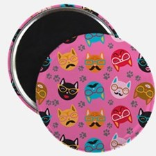 Cute Cat Mustache and Lips, Pink Magnet