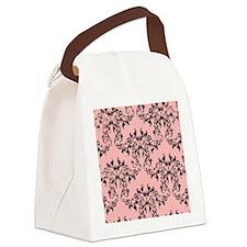 Black on Pink Damask Canvas Lunch Bag