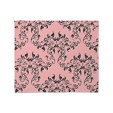 Black on Pink Damask Throw Blanket