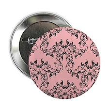 "Black on Pink Damask 2.25"" Button"
