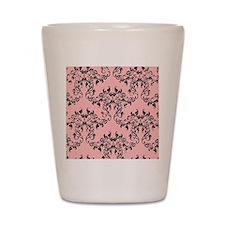 Black on Pink Damask Shot Glass
