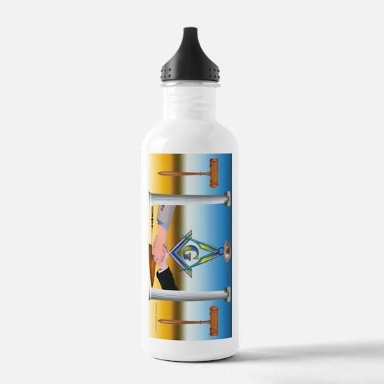 Masonic Scene in oil. Water Bottle