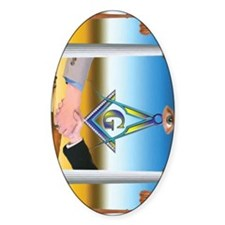 Masonic Scene in oil. Decal