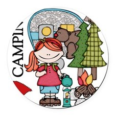 Redhead Girl Loves Camping Round Car Magnet
