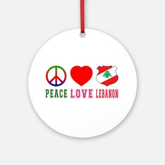 Peace Love Lebanon Ornament (Round)