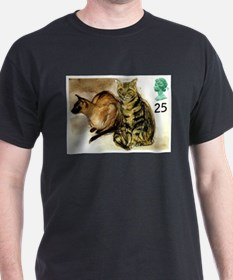 Vintage 1995 Great Britain Cats Postage Stamp T-Sh