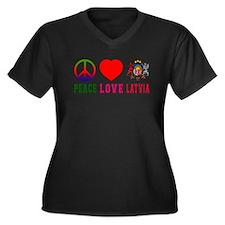 Peace Love Latvia Women's Plus Size V-Neck Dark T-