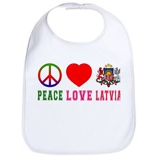 Peace Love Latvia Bib