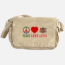 Peace Love Latvia Messenger Bag