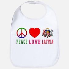 Peace Love Latvia Bib