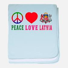 Peace Love Latvia baby blanket
