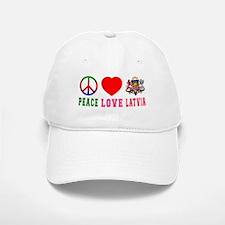 Peace Love Latvia Baseball Baseball Cap