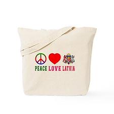 Peace Love Latvia Tote Bag