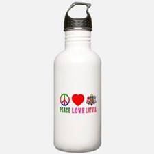 Peace Love Latvia Water Bottle