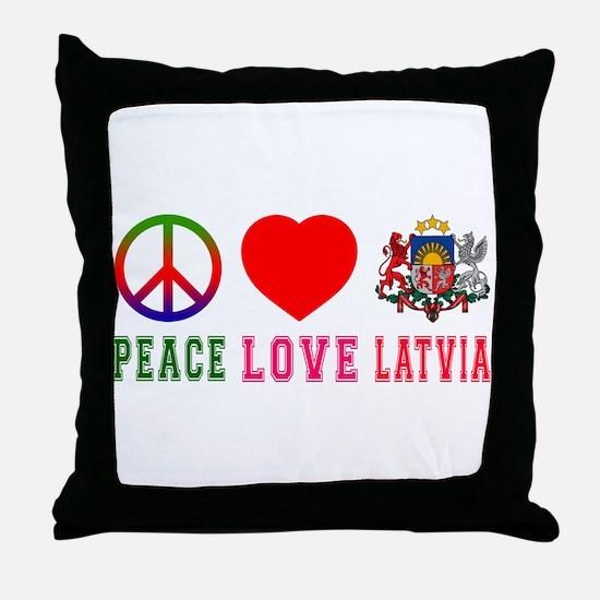 Peace Love Latvia Throw Pillow