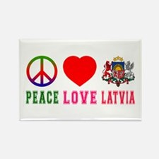 Peace Love Latvia Rectangle Magnet