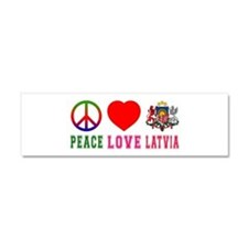 Peace Love Latvia Car Magnet 10 x 3