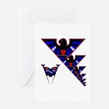 LEATHER EAGLESW/PRIDE FLAGS/BAD Greeting Cards10PK