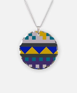 Blue, Yellow Aztec Pattern Necklace