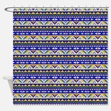 Blue, Yellow Aztec Pattern Shower Curtain