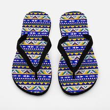 Blue, Yellow Aztec Pattern Flip Flops