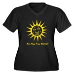 Are You Too Warm? Women's Plus Size V-Neck Dark T-