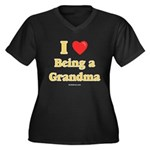 Love being Grandma Women's Plus Size V-Neck Dark T