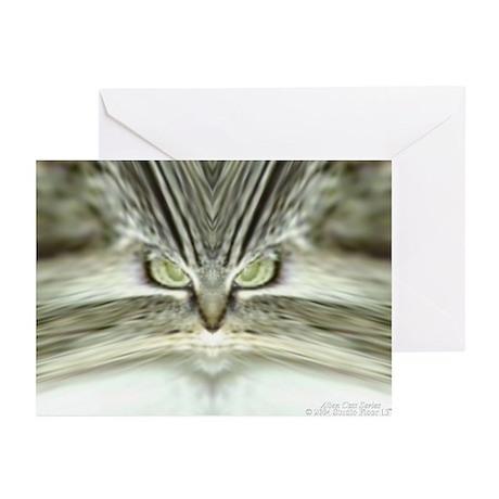 Alien Cat (Tabby Cat) Greeting Cards (10 Pk)