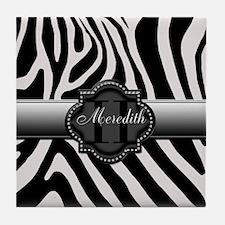 Black and White Zebra Tile Coaster