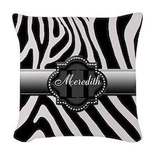Black and White Zebra Woven Throw Pillow
