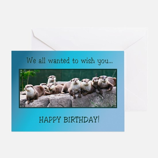Otter family birthday Greeting Cards