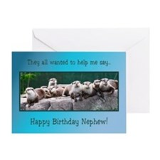 For Nephew, Otter Family Birthday Greeting Card