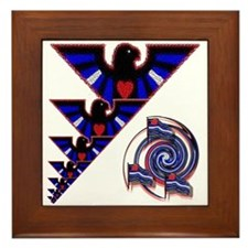 LEATHER EAGLES AND EMBLEM Framed Tile