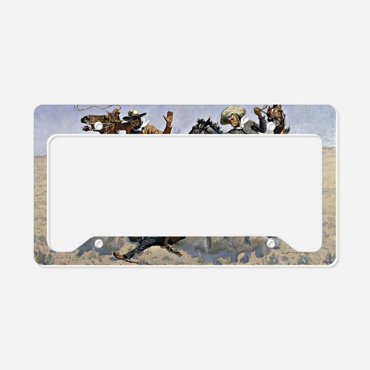 Remington cowboy art: Aiding  License Plate Holder
