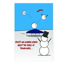 Snowman Trampoline Postcards (Package Of 8)