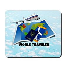World Traveler - passport, map, plane ti Mousepad
