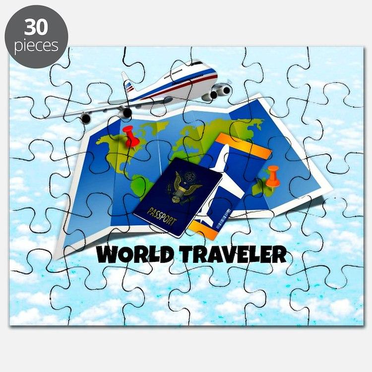 World Traveler - passport, map, plane ticke Puzzle