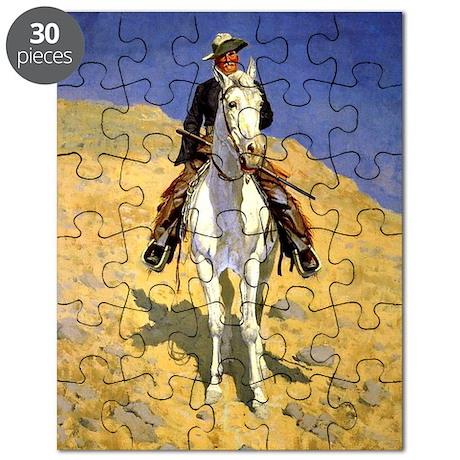 Frederic Remington: Self-Portrait on a Hors Puzzle