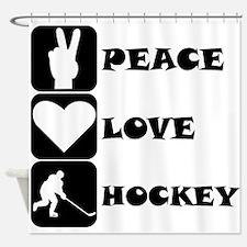 Peace Love Hockey Shower Curtain