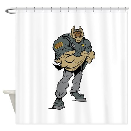 Cartoon Police Dog Shower Curtain By PolicemanGifts