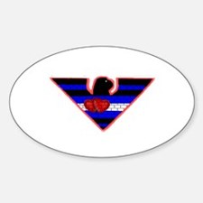 2 HEARTED LEATHER EAGLE 2 Oval Decal