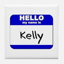 hello my name is kelly  Tile Coaster