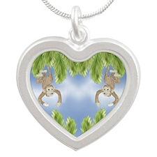 Monkey Silver Heart Necklace