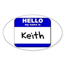 hello my name is keith Oval Decal