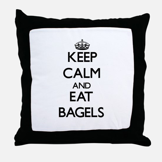 Keep calm and eat Bagels Throw Pillow