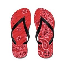 Black and Red Bandanna Pattern Flip Flops
