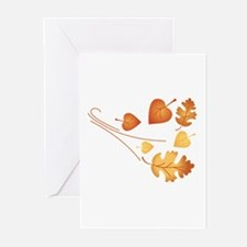 Falling Autumn Leaves Greeting Cards