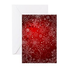 SNOWFLAKES (RED) Greeting Cards (Pk of 10)