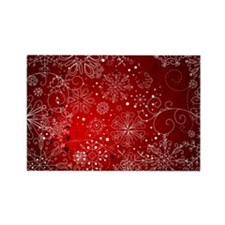 SNOWFLAKES (RED) Rectangle Magnet (10 pack)